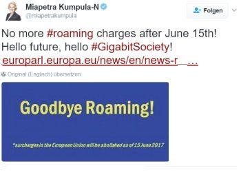 Endgültig: Roaming-Gebühren werden EU-weit im Juni abgeschafft https://www.discountfan.de/artikel/reisen_und_bildung/endgueltig-roaming-gebuehren-werden-eu-weit-im-juni-abgeschafft.php Lange wurde darum gestritten, nun ist es beschlossene Sache: Die Roaming-Gebühren werden innerhalb der EU endgültig am 15. Juni 2017 abgeschafft. Die Behörden haben sich jetzt auf die finale Lösung geeinigt. Endgültig: Roaming-Gebühren werden EU-weit im Juni abgeschafft (Bild: Twitter