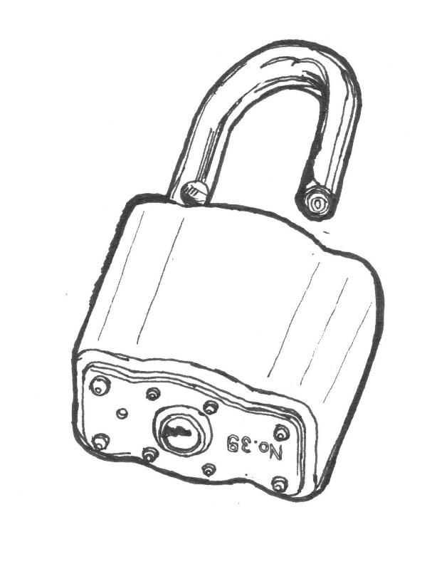 Black line drawing of an open padlock