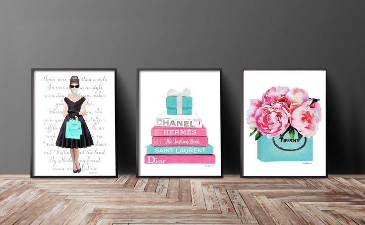 Tiffany, tiffany's, Set of 3, Watercolor,quote, Audrey, peony, Peonies, Pink, Teal, Blue, Fashion, fashion illustration books girly gift for by AmandaGreenwoodArt on Etsy