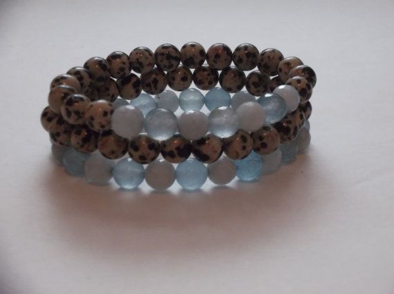 3 Dalmatian Jasper and Aquamarine Gemstone Beaded by HealingAuras