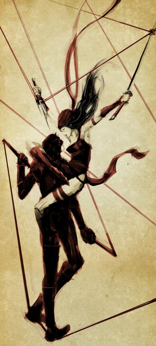 Daredevil and Electra by naratani on deviantART