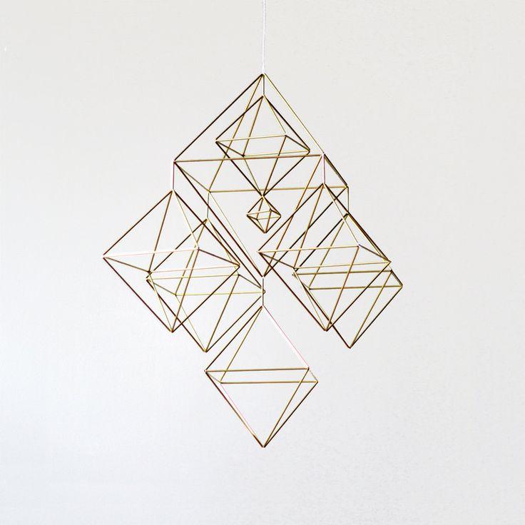 large brass himmeli - hanging mobile - modern mobile - sculpture - geometric - finnish design - home decor. $295.00, via Etsy.