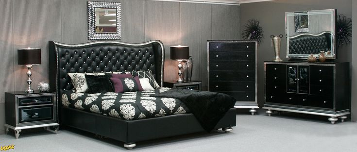 Experience Glitz And Glamour Right In Your Home With The Hollywood  Swank Black Iguana 4 Pc Queen Bedroom Set. | Black U0026 White Inspiration |  Pinterest ...