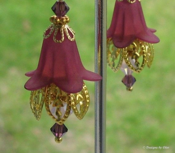 Plum Purple Lucite Flower Earrings Swarovski by designsbycher ...