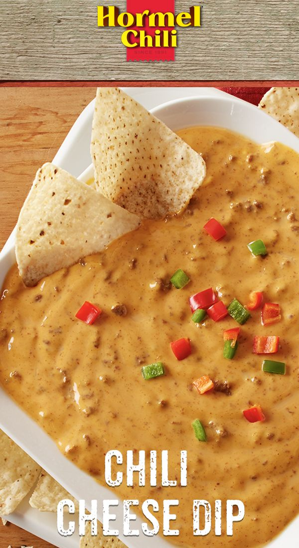 Chili Nation: The last minute winning play call is HORMEL® Chili Cheese Dip | chili recipes | easy chili recipes | chili pizza