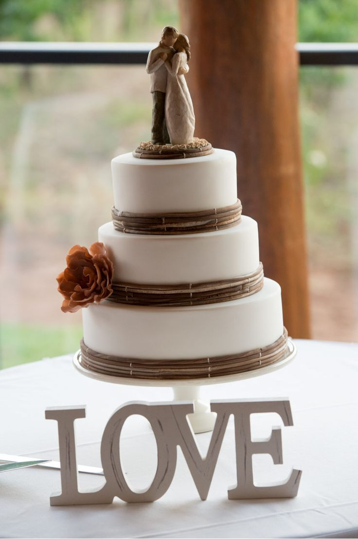 LOVE, Rustic Wedding Cake, Willow Tree Cake Topper. Photo by: Prophoto. Cake by: Kylie Stidwell