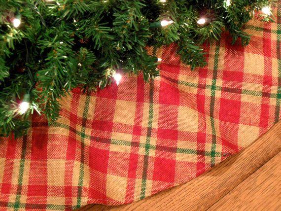 "Burlap Christmas Tree Skirt, Plaid Tree Skirt, Farmhouse Christmas, Rustic Tree Skirt, Red and Green Decoration, 48"" Xmas Tree Skirt"