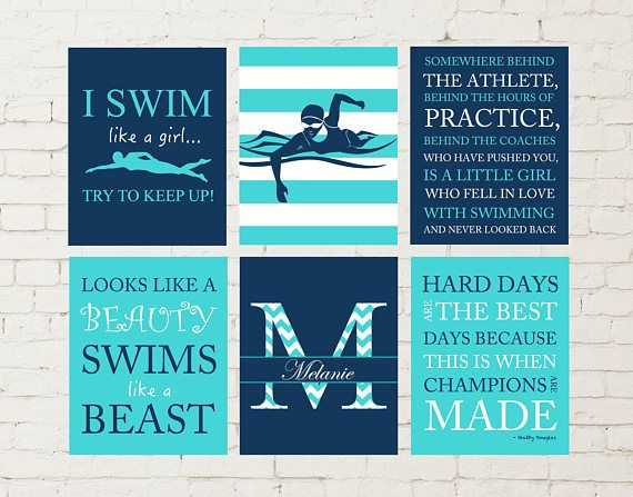 Female swimmer wall art, teen girl gift idea, swimmer, girl swimming, girls wall art, motivational girls quotes, sports art Please visit my shop: https://www.etsy.com/shop/PicabooArtStudio Customize this set by choosing your own colors and sports. If you have a different sport in
