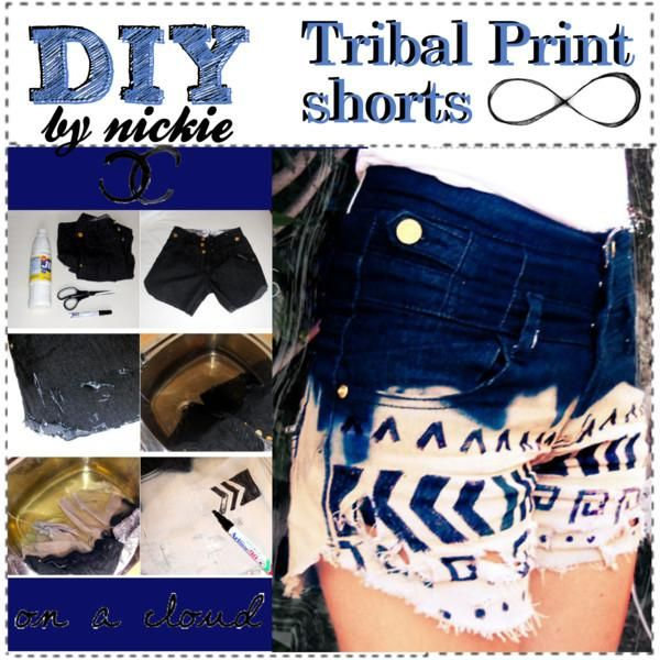 DIY Tribal Print Shorts DIY clothes DIY Refashion