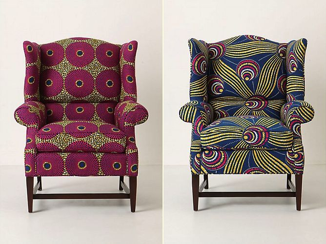 Reupholstered With African Wax Fabric Love Pride Is Pretty Pinterest Africans And Wingback Chairs