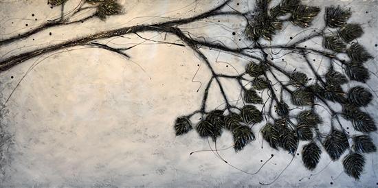 Orange Art Gallery - Julie Berthelot - Bough of the Evergreen. Purchase Online. Art. Tree Branch. Painting . Urban Nature.