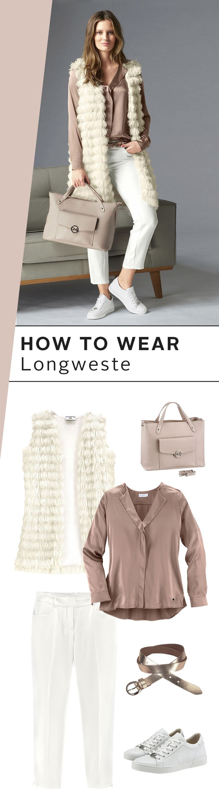 Die Longweste bekommt jetzt in der Übergangszeit einen Platz ganz weit vorne an der Garderobe. Super praktisch! Schau mal, wie du sie in der Felloptik zu einem elegant-verspielten Outfit kombinieren kannst – und damit bereit für alle herbstlichen Anlässe bist!