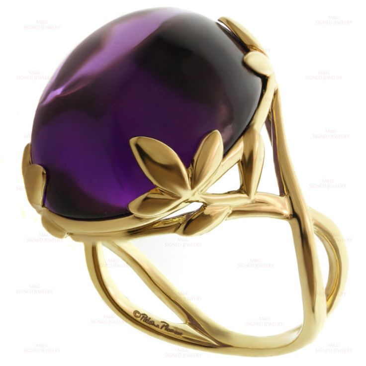 TIFFANY & CO. Paloma Picasso Amethyst Olive Leaf Yellow Gold Cocktail Ring | From a unique collection of vintage cocktail rings at http://www.1stdibs.com/jewelry/rings/cocktail-rings/
