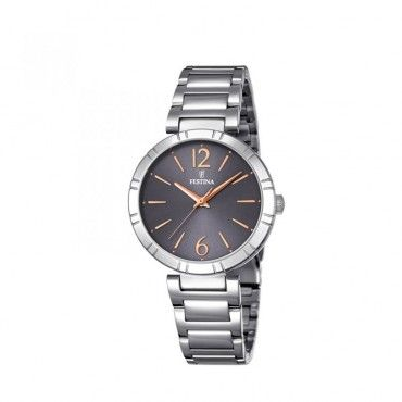 FESTINA black steel bracelet F16936/2 Γυναικείο fashion quartz ρολόι FESTINA με γκρι καντράν και μπρασελέ | FESTINA ΤΣΑΛΔΑΡΗΣ στο Χαλάνδρι #Festina #απλο #μαυρο #μπρασελε #ρολοι