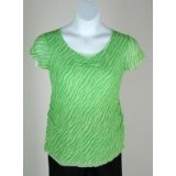 Double Layer Mesh Maternity Blouse in Green Print Medium (Apparel)By Duo