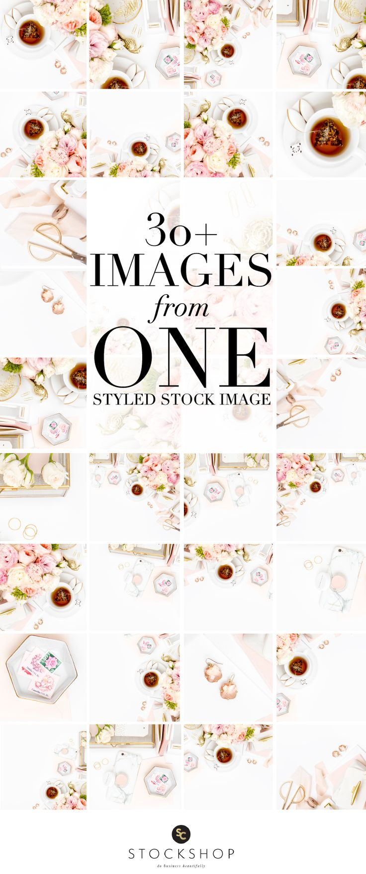 Photography Jobs Online - Learn how to use styled stock photography! Create 30  Instagram images from a single styled stock image! Blush pink and gold desktop image collection. - Photography Jobs Online | Get Paid To Take Photos!