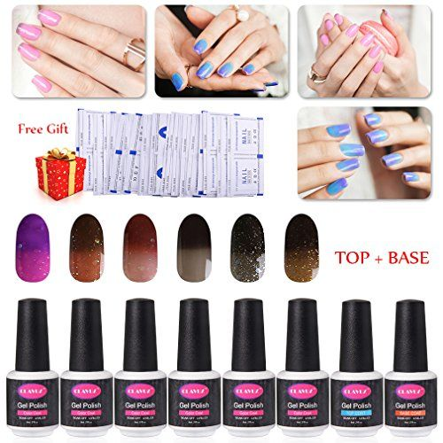 Soak Off Gel Nail Polish 6pcs Thermal Color Changing Nail Lacquers Color Collection Kit with Top Coat and Base Coat Maniure Gift SetFree 50pcs Nail Remover Warp Pads by CLAVUZ >>> Read more  at the image link. Note:It is Affiliate Link to Amazon.