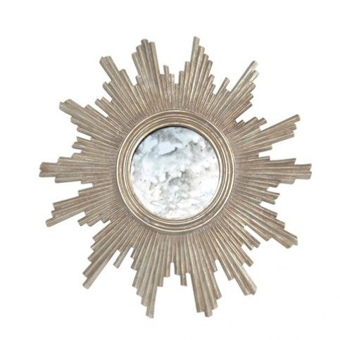 THE WELL APPOINTED HOUSE - Luxury Home Decor- Champagne Silver Leaf Hand Carved Starburst Mirror from www.wellappointedhouse.com #homedecor #decorate #mirrors