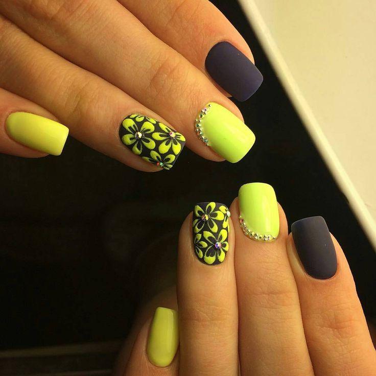 Весенние ногти, Весенний шеллак, Двухцветный маникюр, Идеи весеннего маникюра, Идеи двухцветного маникюра, Идеи желтого маникюра, Идеи маникюра с цветами, Маникюр желтого цвета