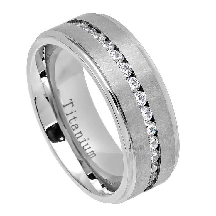 White IP Titanium Ring Brushed Center Shiny Step Edge with Eternity Style CZs