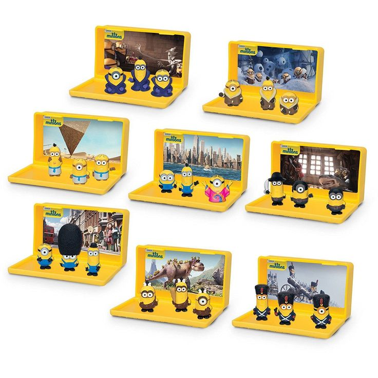 All 8 sets include: Cro-Minions Playset; Egyptian Minions Play Set; Eye, Matie Minions Playset; the Gone Batty Minions Playset; Vive le Minions Playset; Bored Silly Minions Playset; NYC Minions Playset and British Minions Playset. | eBay!