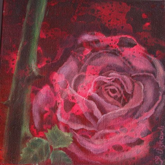 6x6 inches oil painting on canvas res rose