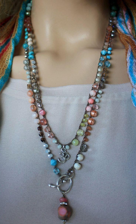 Gold Handmade Crochet Necklace Beaded Choker Necklace Layering Necklace Cross Necklace Crochet Necklace with Beads