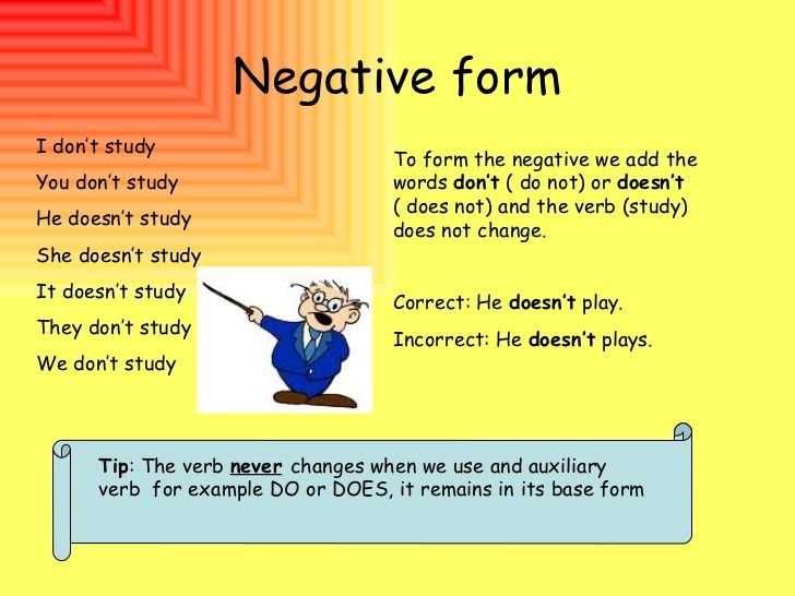 negative simple present tense other verbs - Buscar con Google