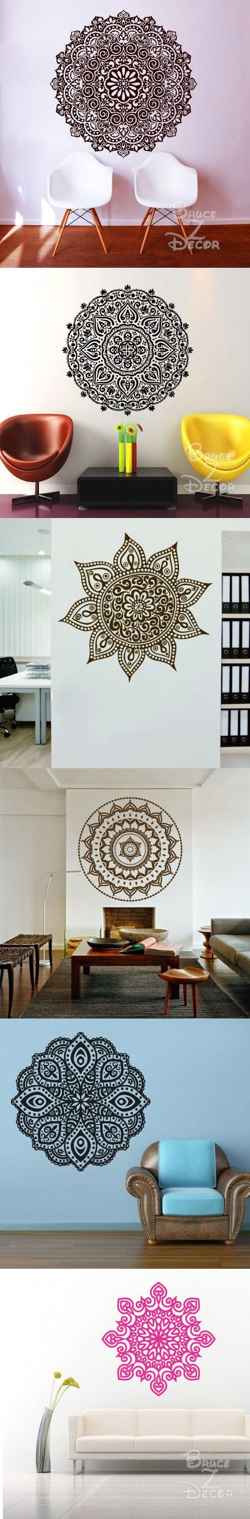 2016 Mandala Mehndi Wall Sticker DIY Large Wall Stickers Home Decor Indian Hindu Buddha Wall Decals Home Decoration