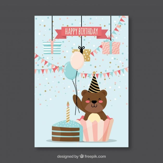 Flat birthday card with a bear #Free #Vector #illustration