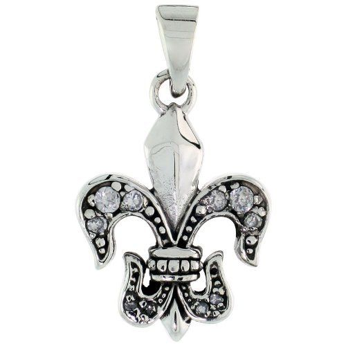 Sterling Silver Fleur de Lis Pendant Cubic Zirconia Stones, 18 inch starter chain included Sabrina Silver. $53.70