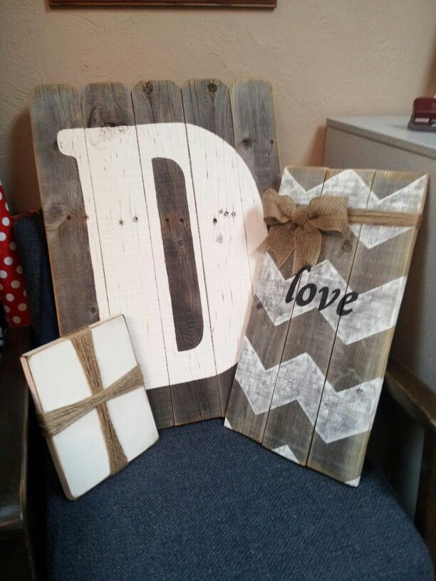 Wood fence panel with chevron love and burlap bow  twine, twine cross and wood letter D