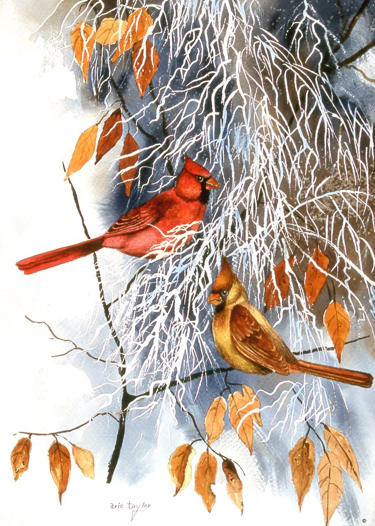 Bird Painting - Autumn Aquaintances Digital Art by Crista ... |Fall Bird Paintings