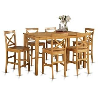 Oak Finish Rubberwood 7 Piece Dining Room Pub Set With Table And 6 Chairs Wooden Seat Natural