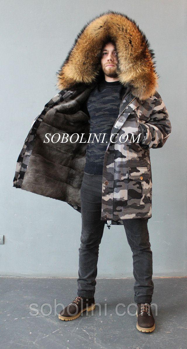 Парка из плащ- котона камуфляж и отстежкой на жилет, внутри-испанский  кроль  продажа, цена в Харькове. куртки мужские от