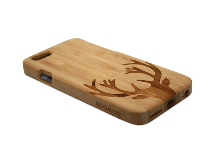 iPhone 6 phone case in bamboo with beautiful art design of a deer on the back of the case | Go Wood #iPhone #iPhone6 #woodcase #phonecase #iPhone6case #iPhonecase #bamboo #deer