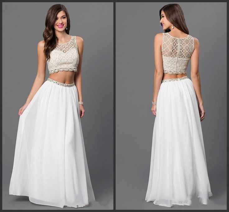 White Dresses Two Parts Dresses 2016 Scoop Neck Chiffon Dress Cheap Price Lace Gown New Design Best Chosse For You Prom Best Prom Dress Childrens Prom Dresses From Lovemydress, $82.07  Dhgate.Com