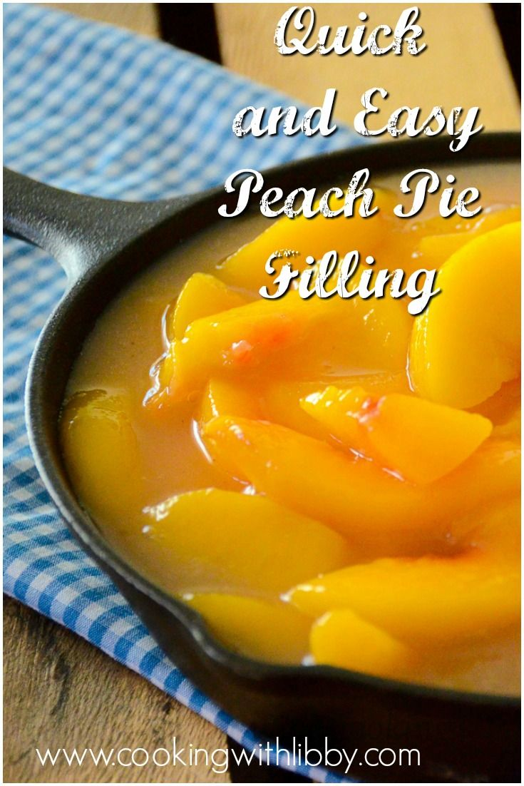 Skip the canned pie filling and opt for a healthier choice with this Quick and Easy Peach Pie Filling. It will make your desserts taste out of this world! For more easy recipes, visit www.cookingwithlibby.com! Quick and Easy Peach Pie Filling http://cookingwithlibby.com/2016/07/quick-easy-peach-pie-filling.html