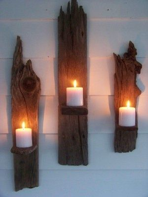 driftwood candle holders - simple and elegant!  ...