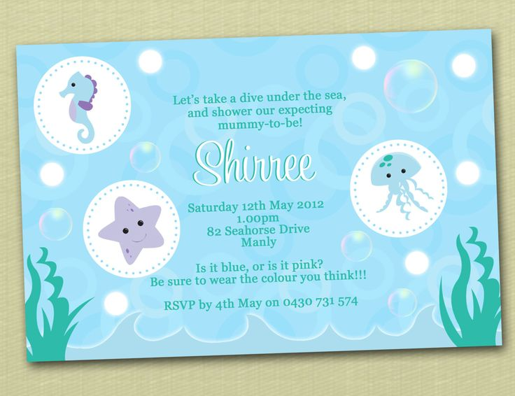 best under the sea baby shower images on   parties, Baby shower invitation
