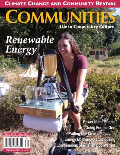 """""""'Communities' [magazine] has been the primary resource for information, issues, stories, & ideas about intentional communities in North America—from urban co-ops to cohousing groups to ecovillages to rural communes. Communities now also focuses on creating & enhancing community in the workplace, in nonprofit or activist organizations, & in neighborhoods, with enhanced coverage of international communities as well. We explore the joys & challenges of cooperation in its many dimensions."""""""