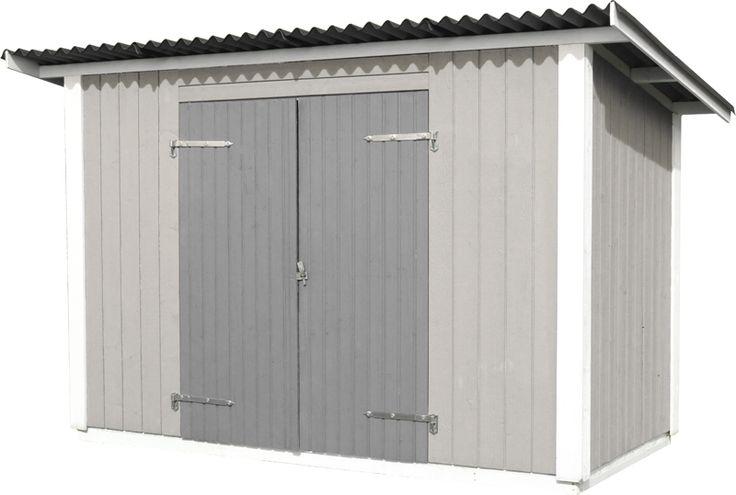Förråd Haga 4,4 Ett förråd med färdiga väggsektioner och oisolerad dubbeldörr. Taket av ondulineskivor står emot väder och vind och behöver inget ytterligare ytskikt. Bra att komplettera till en 10 m² stuga. Golv finns som tillval.