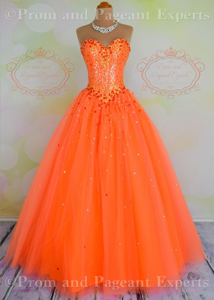 Mori Lee Neon Orange Prom Ball Gown Dress Quince Laceup Corset Back AMAZING PRICE!