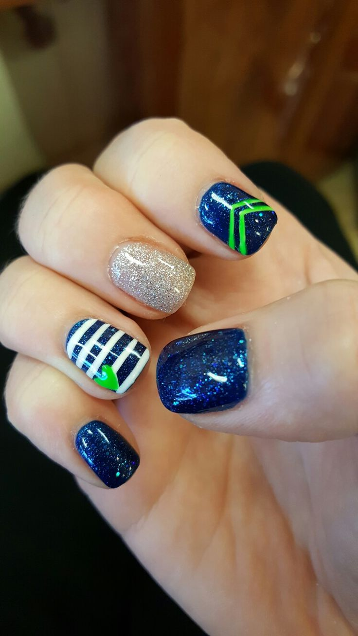 Seattle Seahawks nail design. Go Hawks!