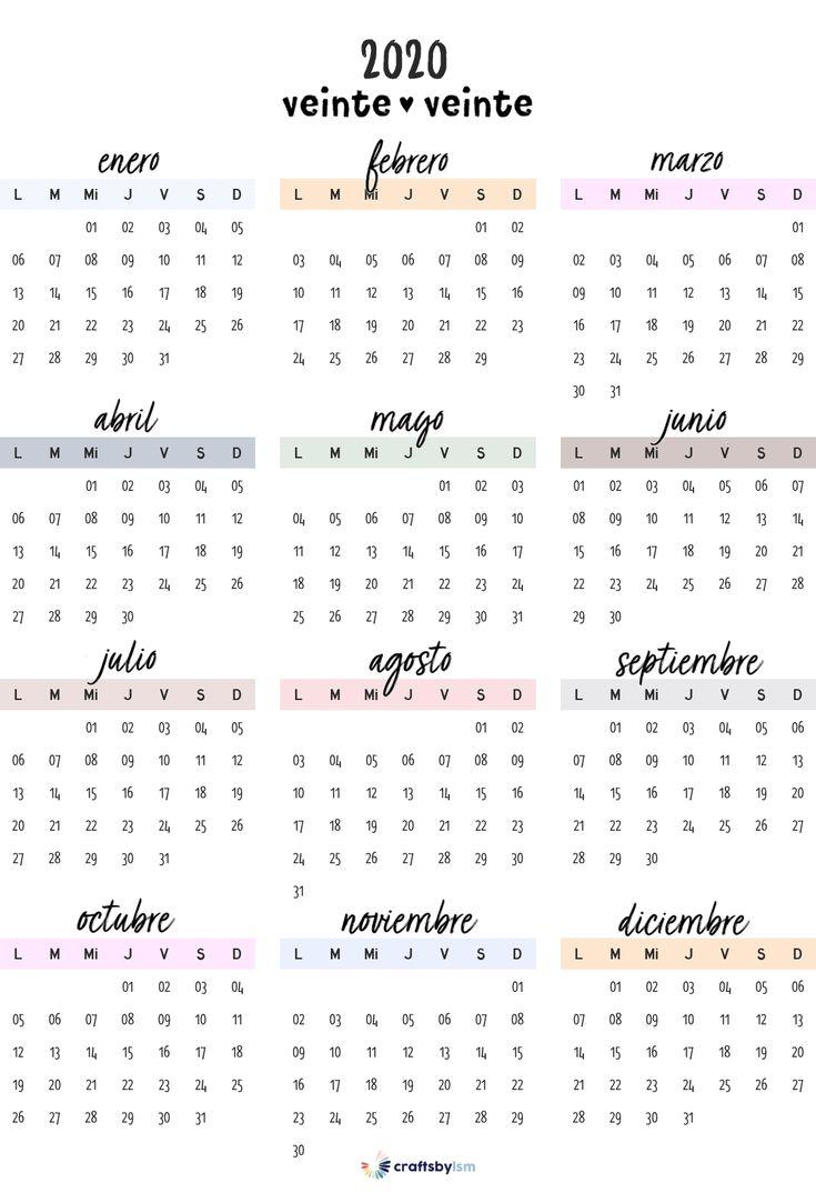 Calendario Anual 2020 en 2020 | Calendario para imprimir ...