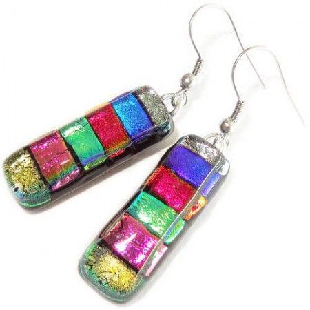 Lange oorbellen handgemaakt van kleurrijk glas! Multicolor glazen oorbellen.