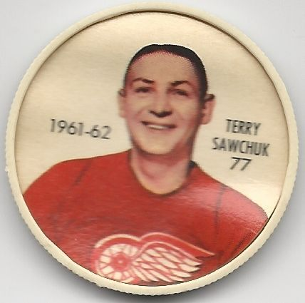 1961-62 Shirriff Coin Terry Sawchuk Detroit Red Wings # 77 NM