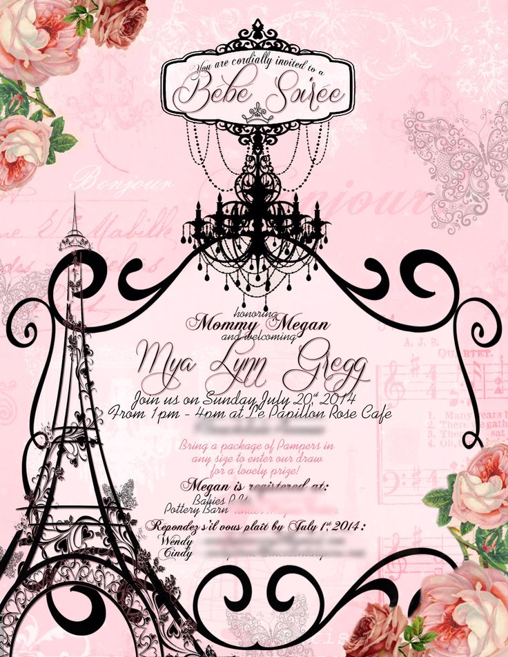 Parisian baby shower invitation. Made it for my own baby shower.