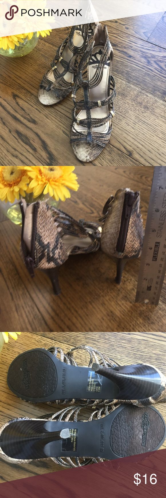 "Women's Brown animal print heels w/zip back sz 7.5 Pretty shoe from Fergalicious!  Straps bound w/gold detail.  Zip up back for comfortable fit.  Heel is 3"" Fergalicious Shoes Heels"