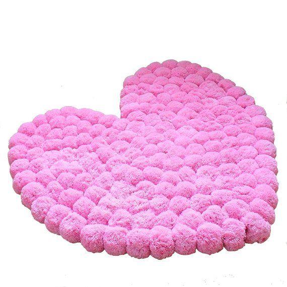 Girly Rugs For Bedroom: Heart Rug, Pom Pom Rug, Pompom Rug, Baby Room, Teen Room